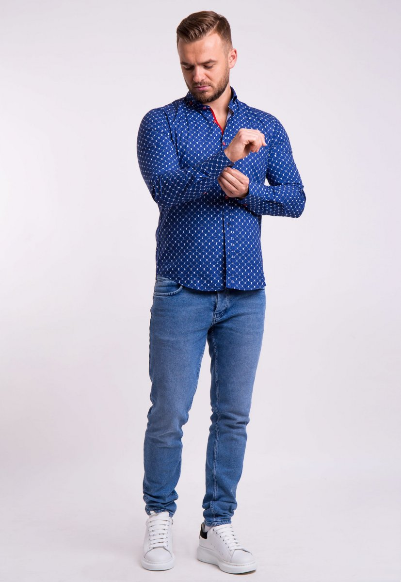 Рубашка TREND Синий + шахматы 02-1051 - Фото