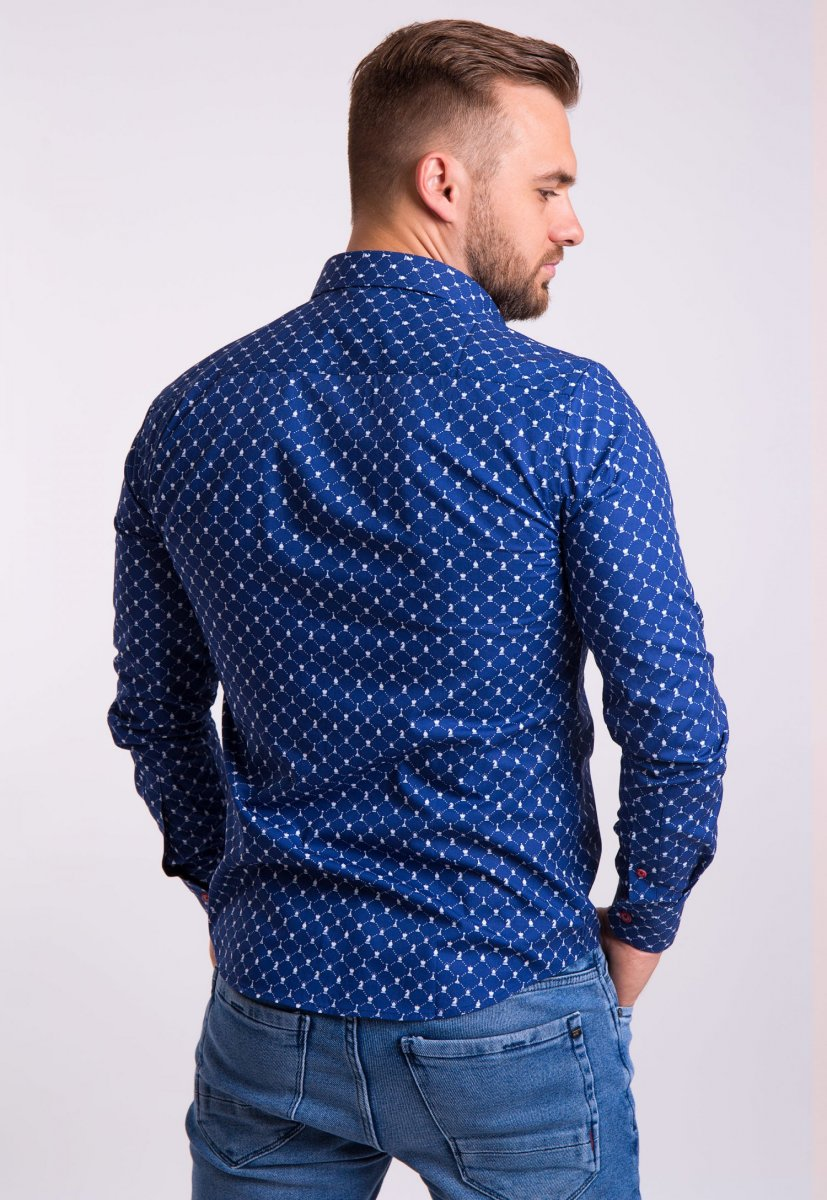 Рубашка TREND Синий + шахматы 02-1051 - Фото 1