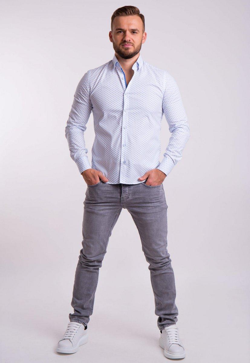 Рубашка TREND Белый + небесный принт 02-1053 - Фото