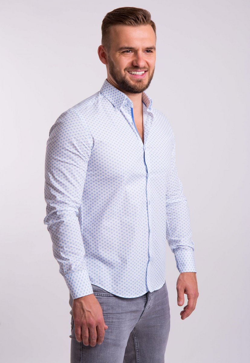 Рубашка TREND Белый + небесный принт 02-1053 - Фото 1