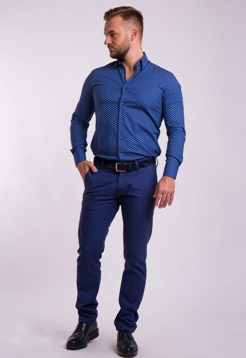 Рубашка TREND Синий + белый принт 02-1053 - Фото
