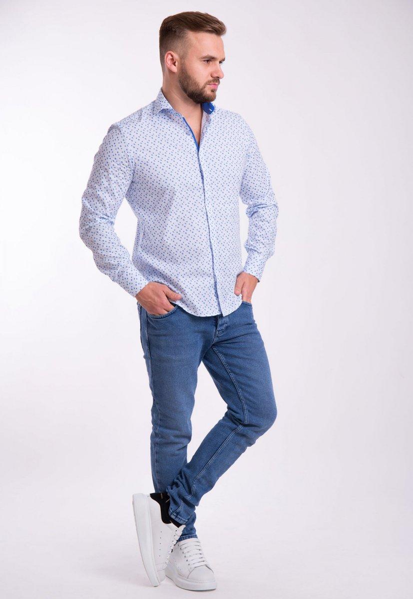Рубашка TREND Белый + небесный ромб 02-1052 - Фото
