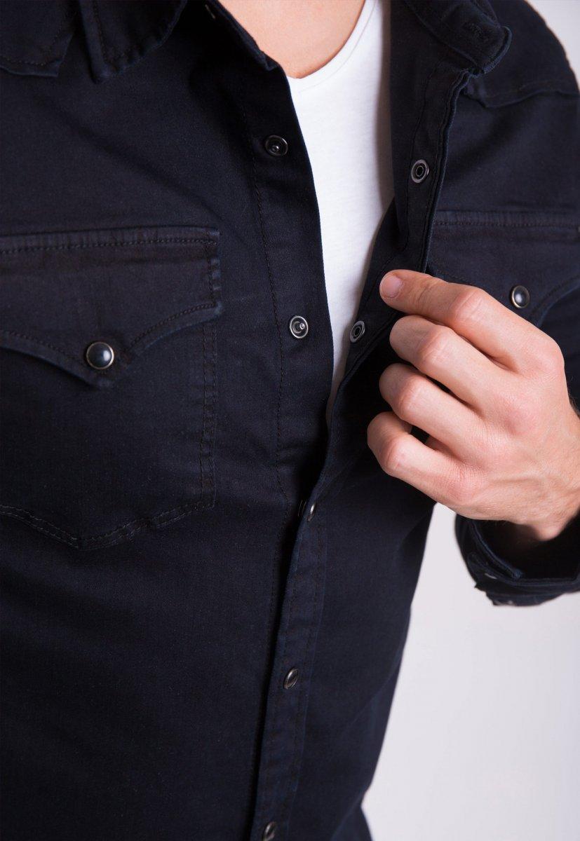 Рубашка INTEGRAL 6871 Черный джинс - Фото 3