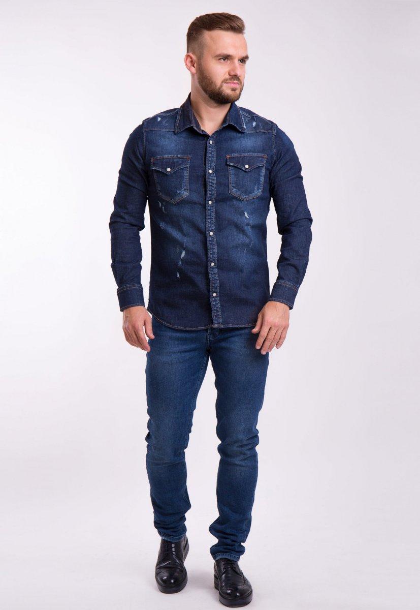 Рубашка INTEGRAL 6667 Темно-синий джинс - Фото