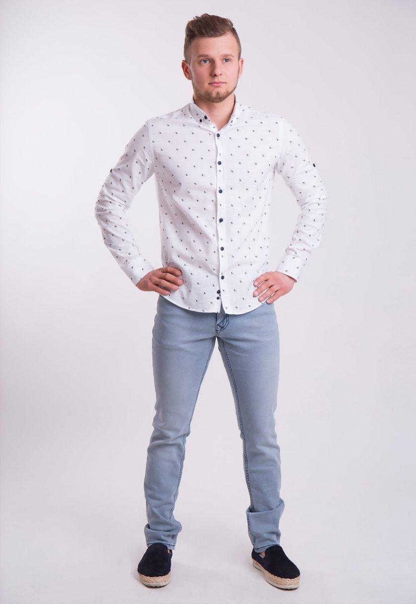 Рубашка Trend Collection 0005 Белый+кораблики (White) - Фото