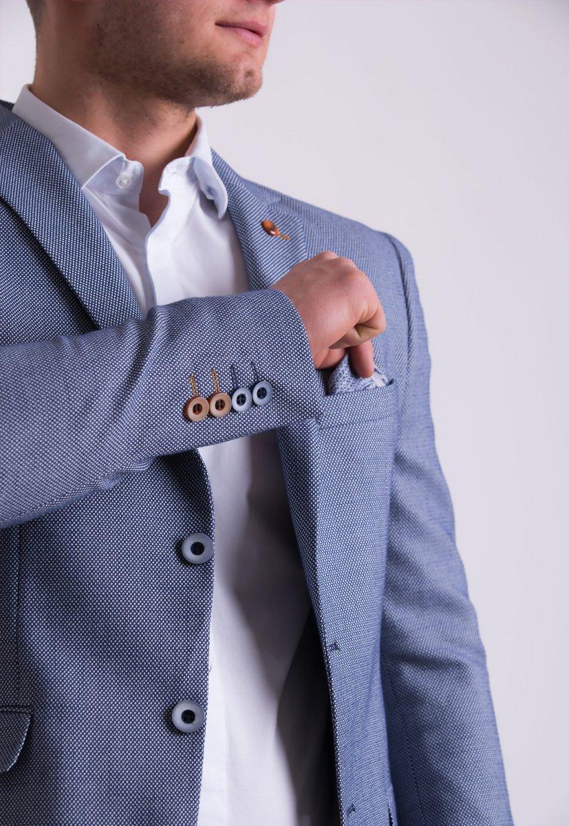Пиджак Trend Collection TJK-06 Синий + серый меланж - Фото 1