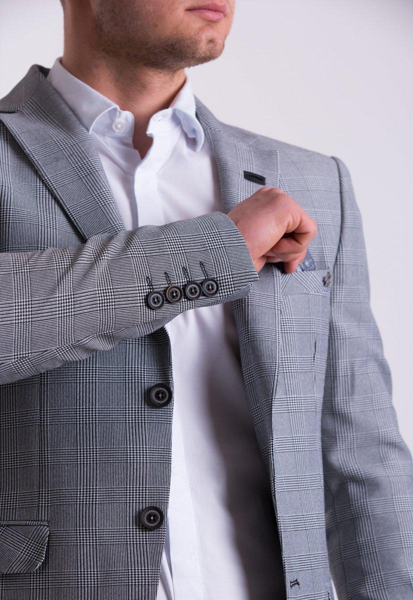 Пиджак TREND TJK-01 Серый + клетка - Фото