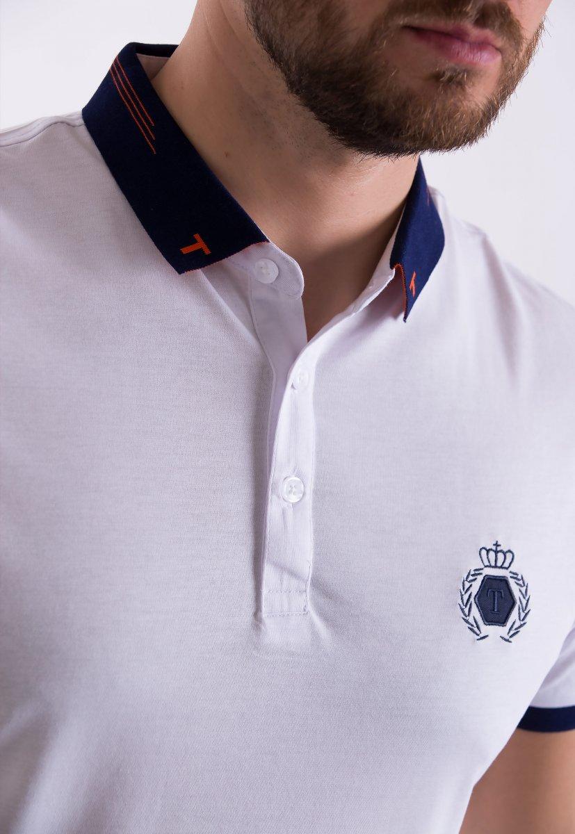 Футболка Trend Collection 1182 Белый + синий воротник - Фото 1