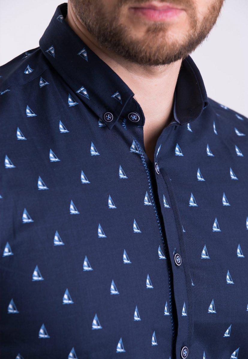 Рубашка Trend Collection TG0007 Темно-синий + кораблики - Фото 1