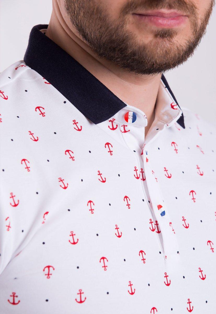 Футболка Trend Collection 6907 Белый + красные якоря - Фото