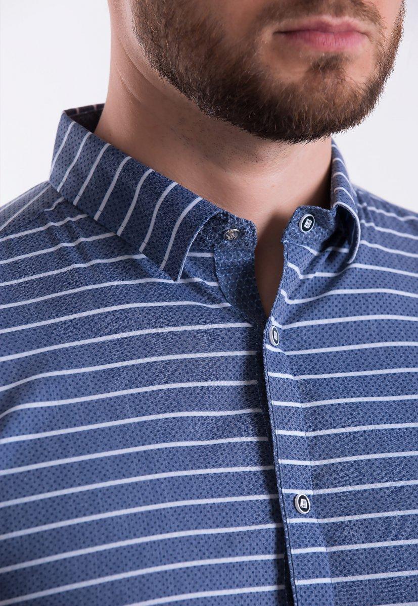 Рубашка Trend-Collection 18368 Синий + полоска - Фото