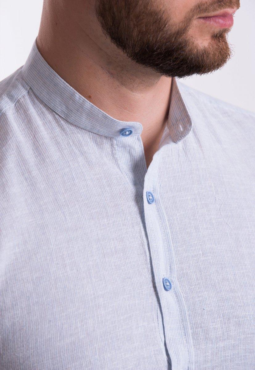 Рубашка Trend Collection U02-1046 Небесный + полоска - Фото