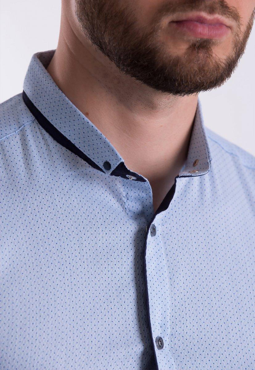 Рубашка Trend-Collection 18402 Небесный + горох - Фото