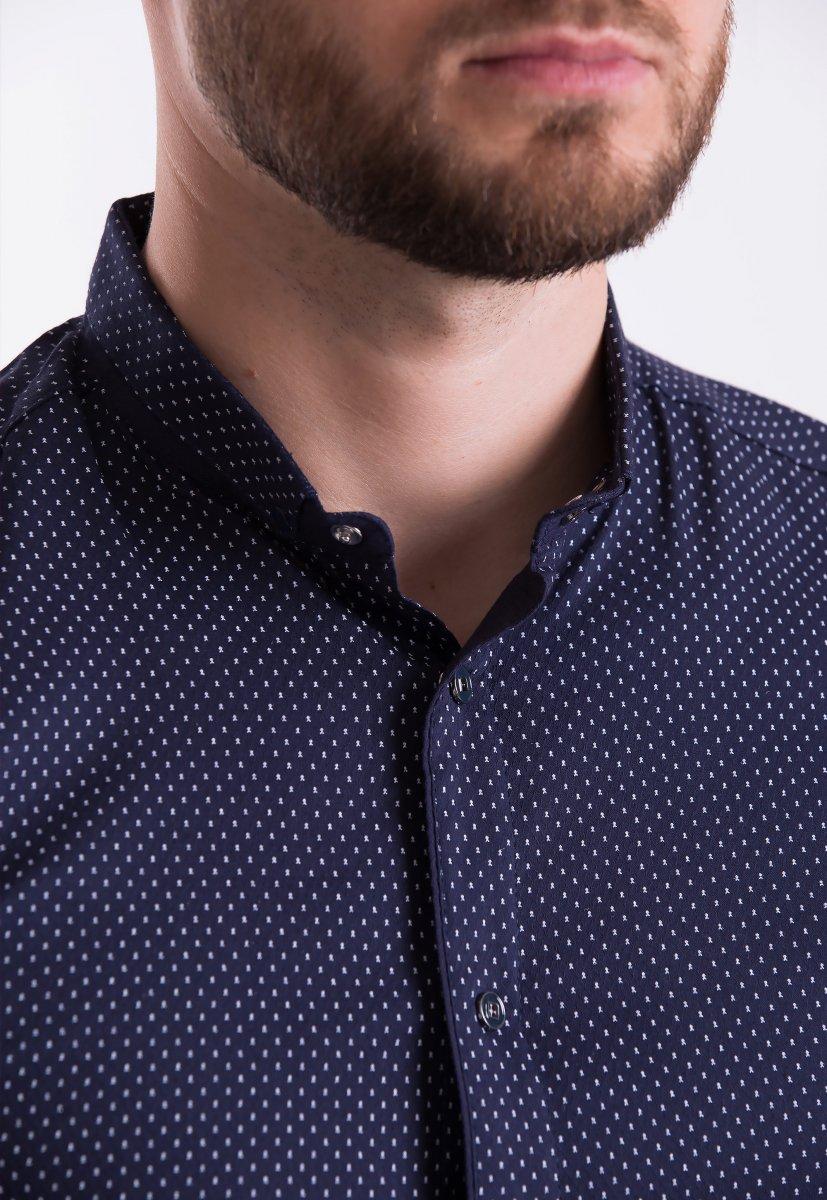 Рубашка Trend-Collection 18402 Темно-синий + горох - Фото