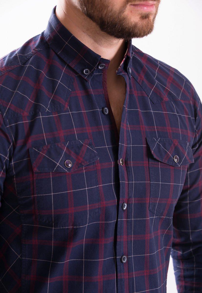 Рубашка TREND COLLECTION 1092 Синий+красная клетка - Фото