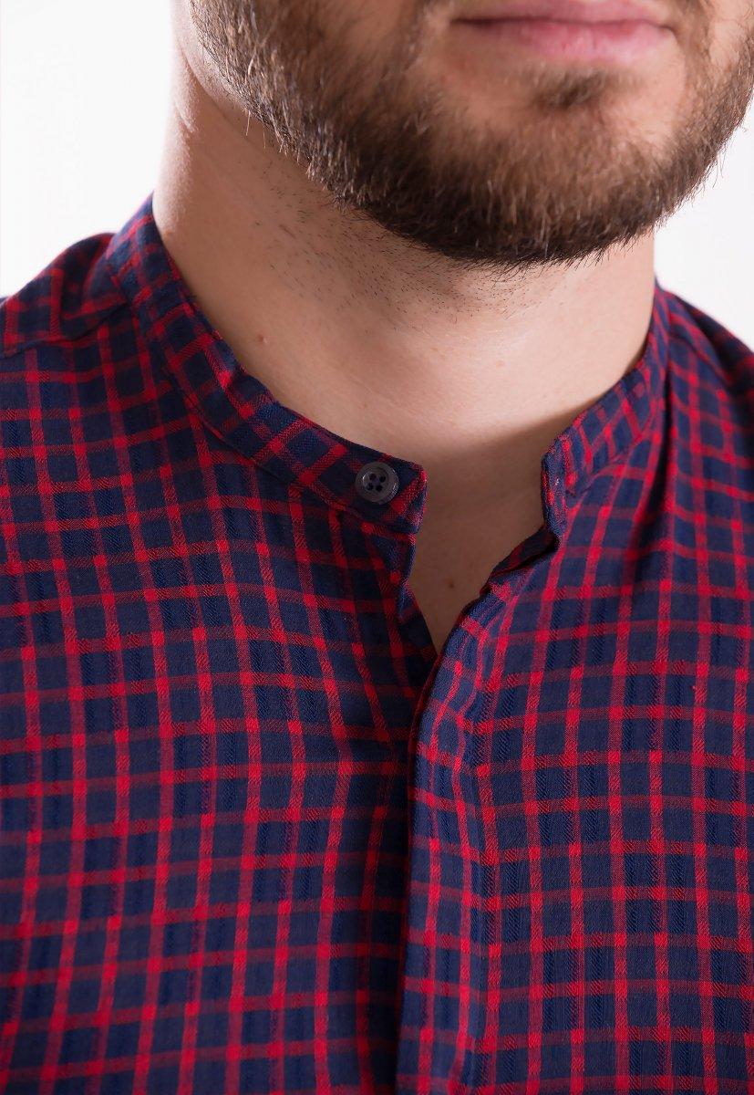 Рубашка TREND COLLECTION 19048 синий+красная клетка - Фото
