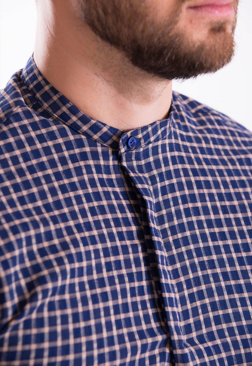 Рубашка TREND COLLECTION 19048 Синий+бежевая клетка - Фото