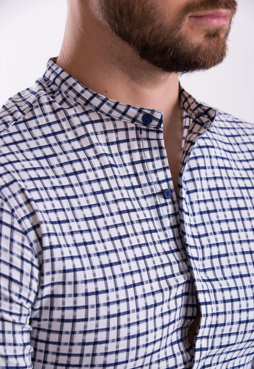 Рубашка TREND COLLECTION 19048 белая+синяя клетка - Фото