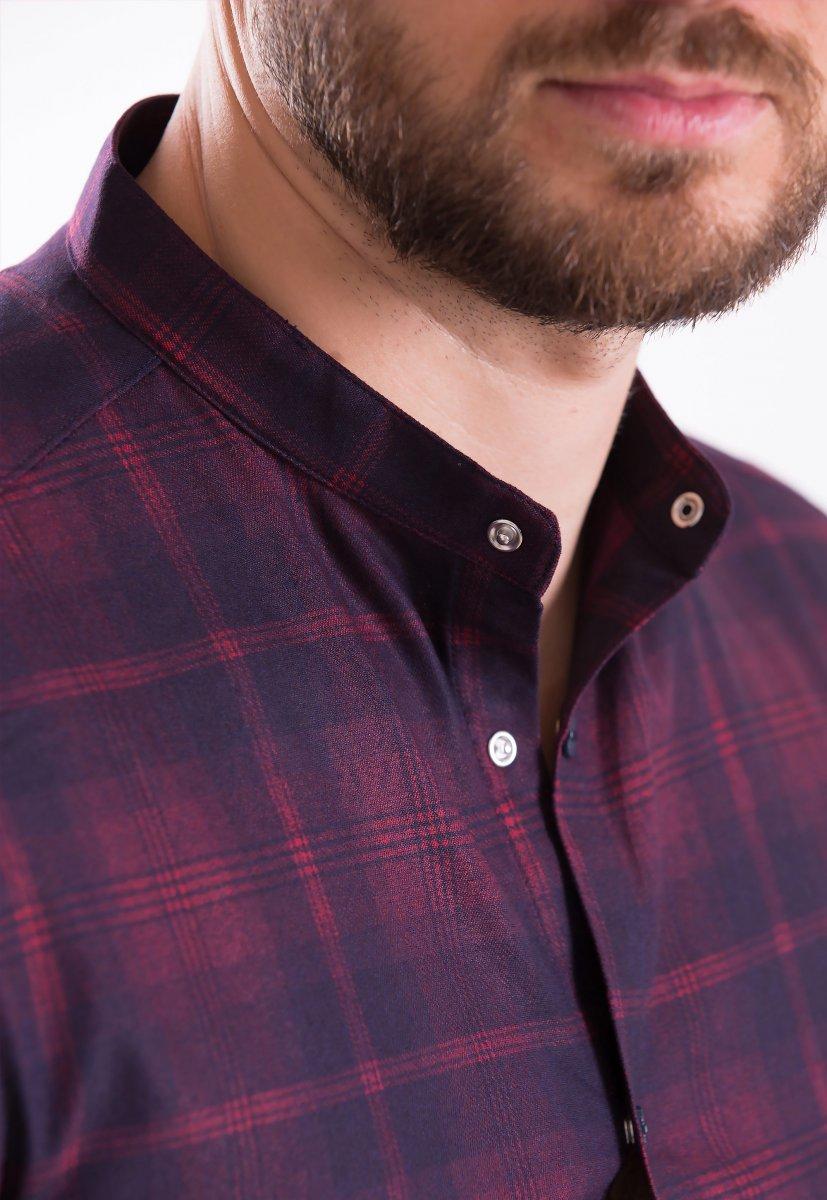 Рубашка TREND COLLECTION 19045 бордовая клетка - Фото