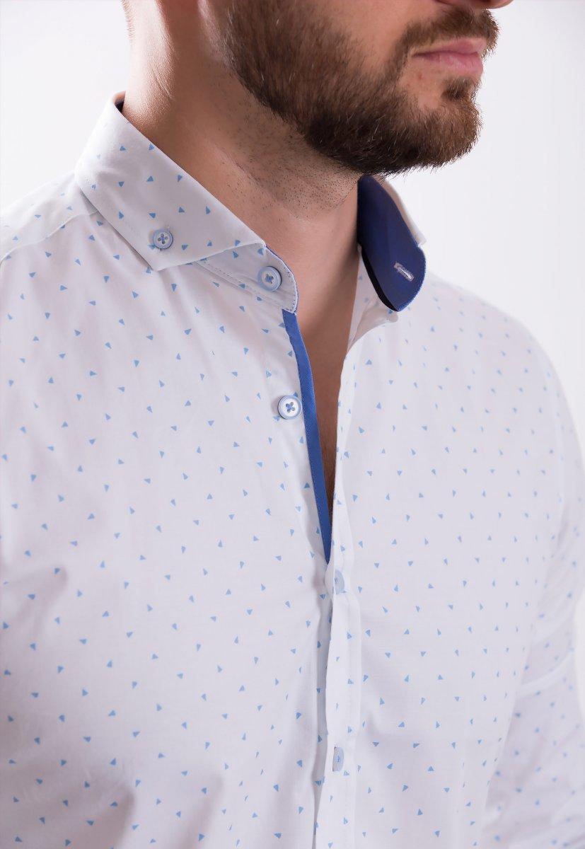 Рубашка TREND COLLECTION 0013 Белый+небесный треугольник - Фото