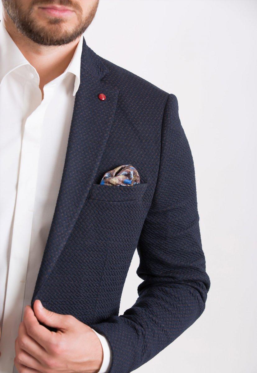 Пиджак Trend Collection 701 Синий+коричневый - Фото