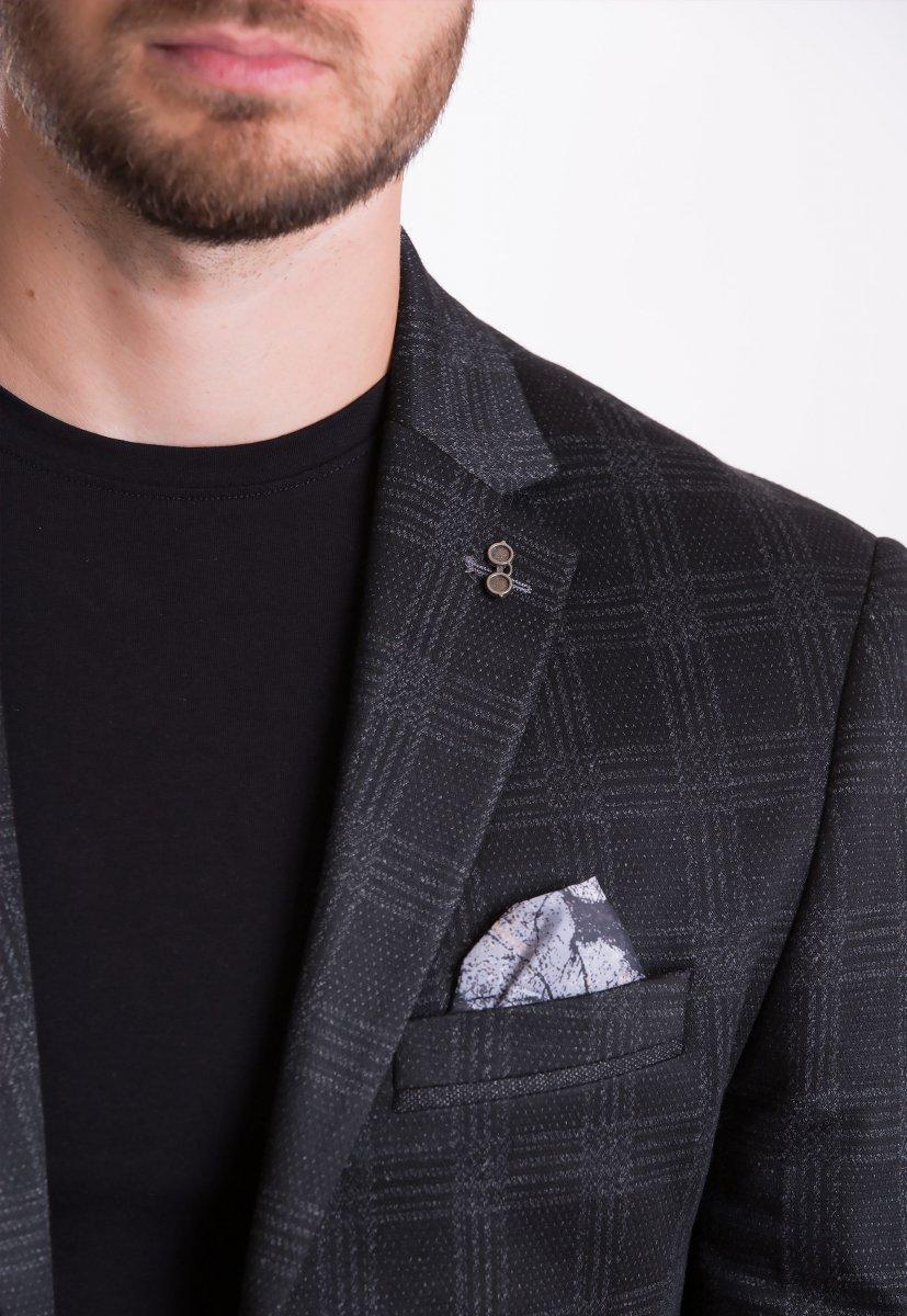 Пиджак Trend Collection TJK-012 Черный+серая клетка - Фото