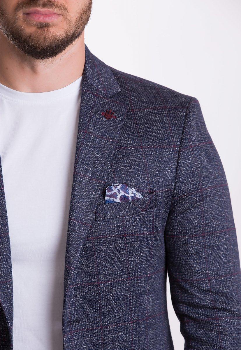 Пиджак Trend Collection TJK-008 Синий+бордовая клетка - Фото
