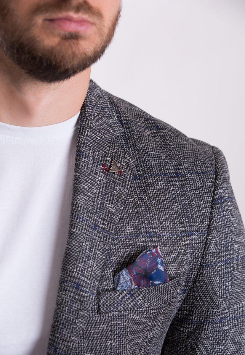 Пиджак Trend Collection TJK-008 Серый+синяя клетка - Фото