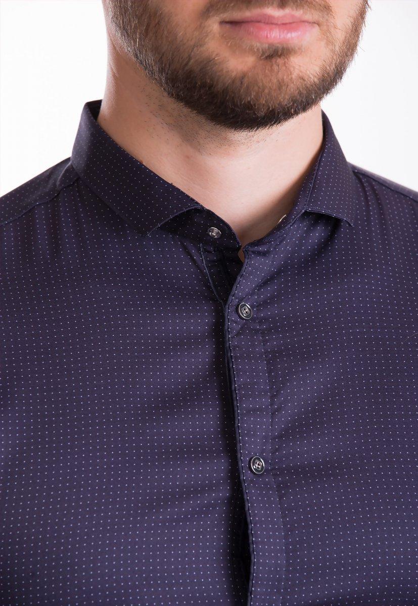 Рубашка Trend Collection 19164 Баклажанный+точка - Фото