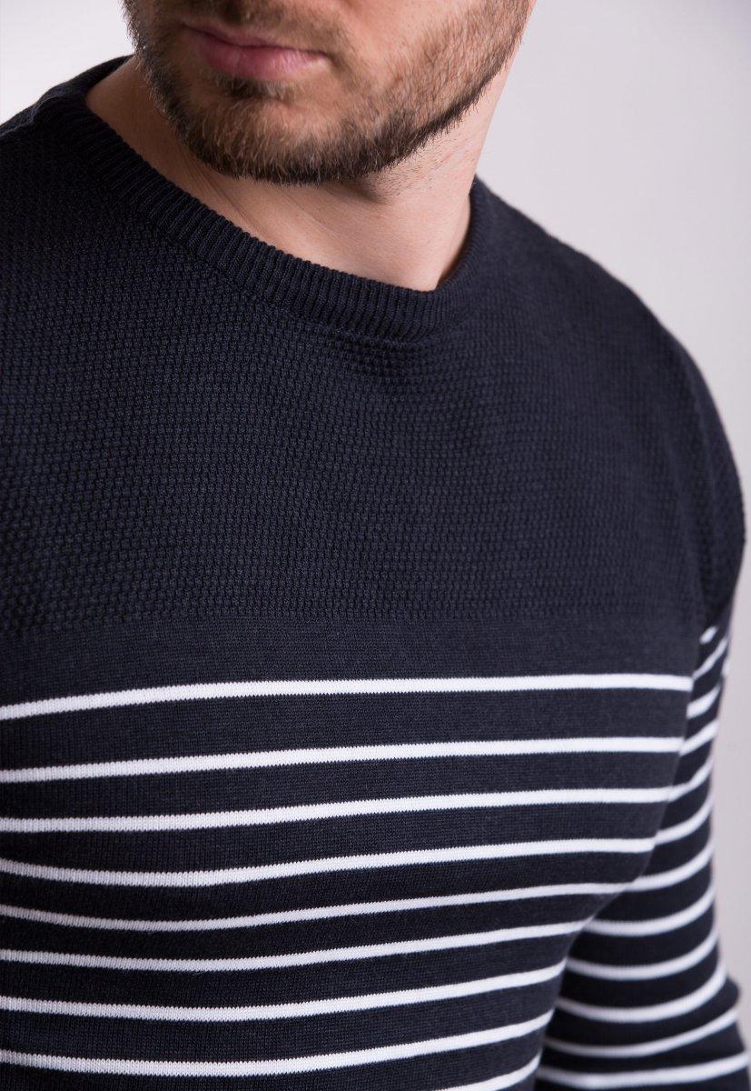 Свитер Trend Collection 7979 Темно-синий+белая полоска - Фото