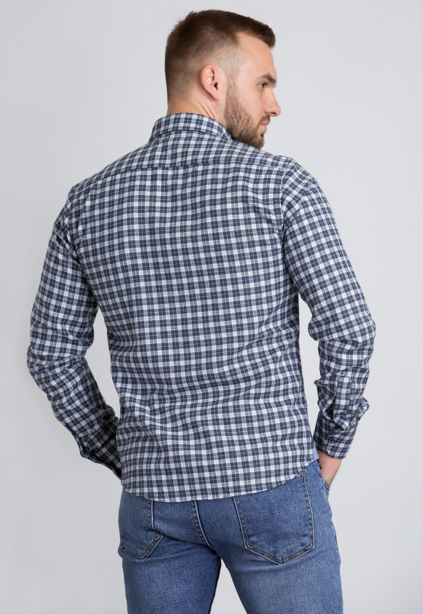 Рубашка Trend Collection U02-1001-20 Синий+белая клетка - Фото