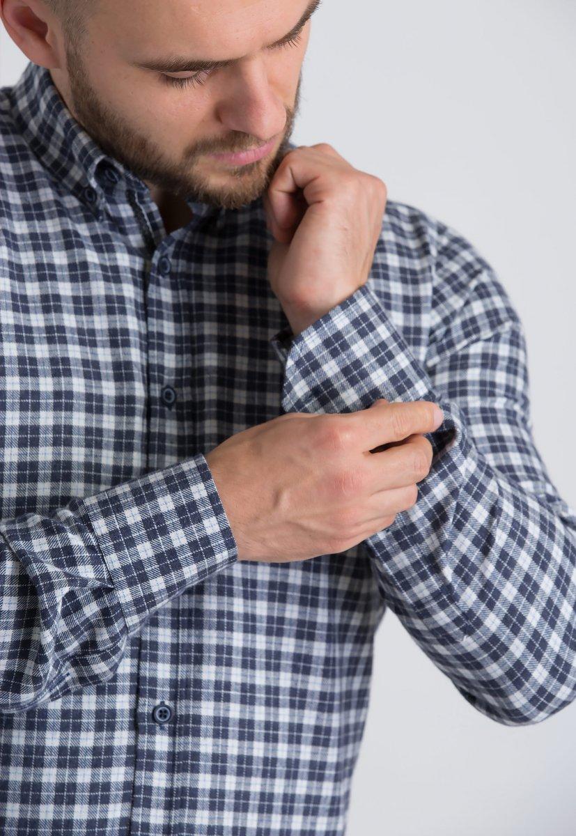 Рубашка Trend Collection U02-1001-20 Синий+белая клетка - Фото 2