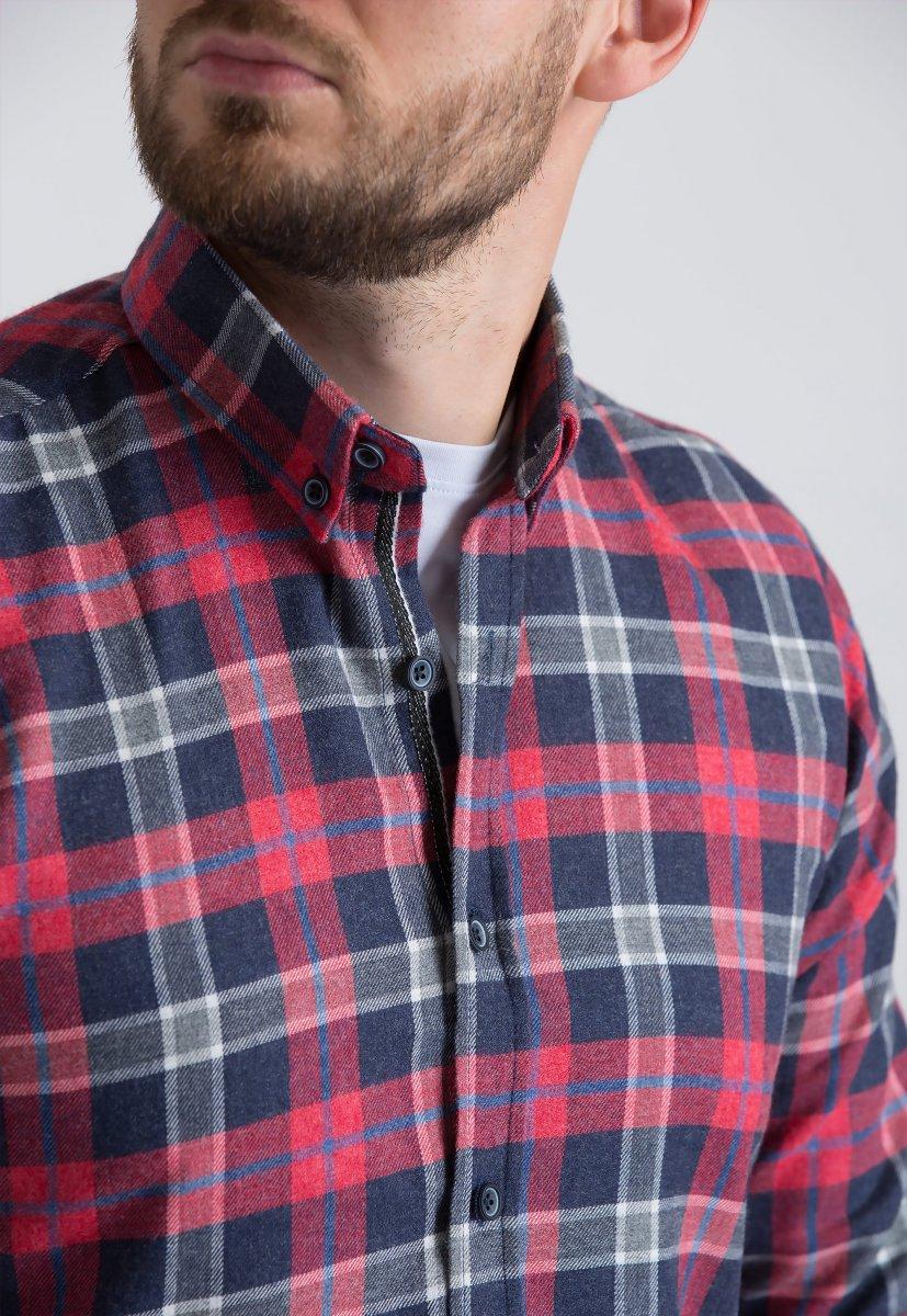 Рубашка Trend Collection U02-1001-20 Красный+синяя клетка - Фото 2