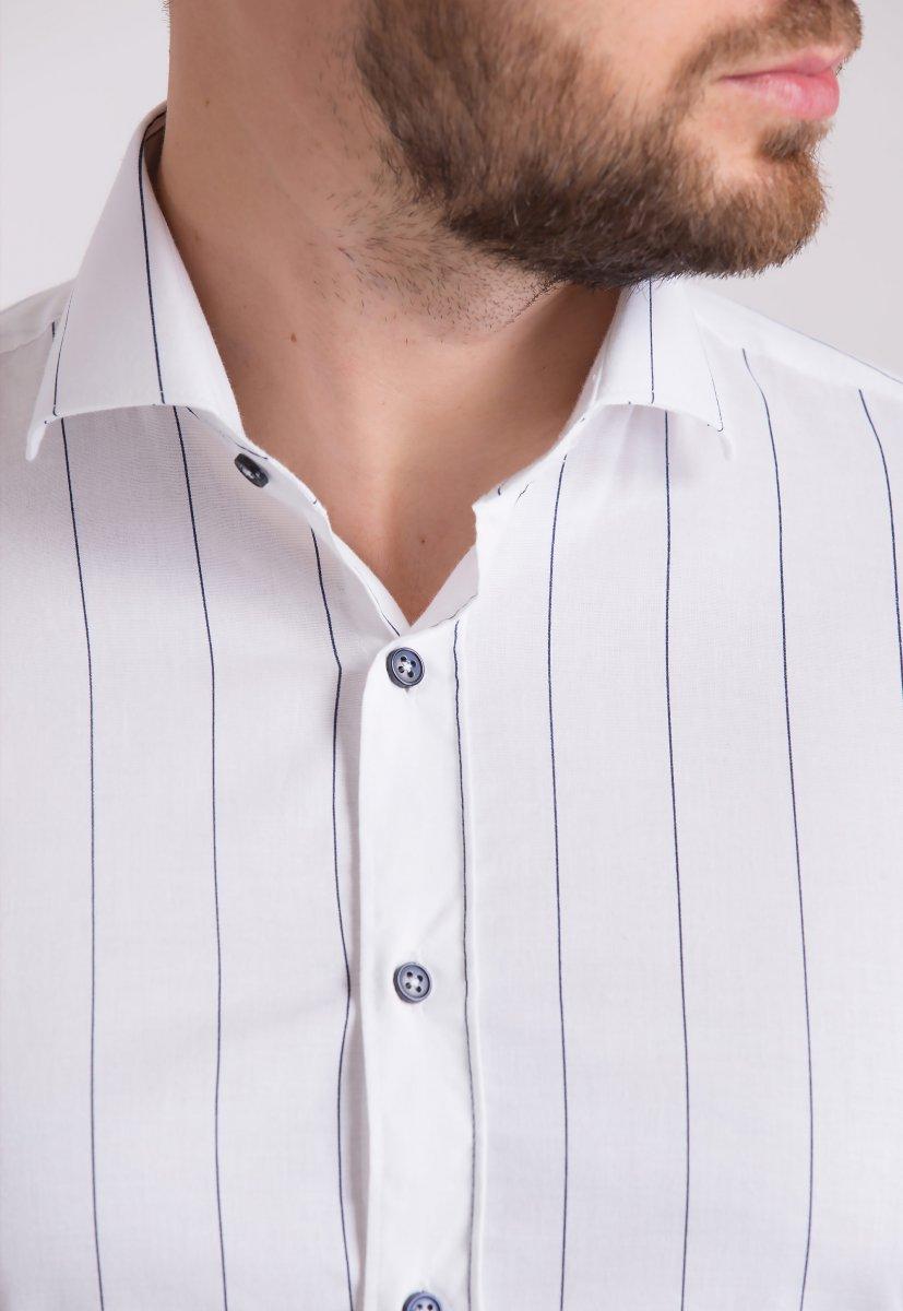 Рубашка Trend Collection U02-1090-20 Белый+черная полоска - Фото