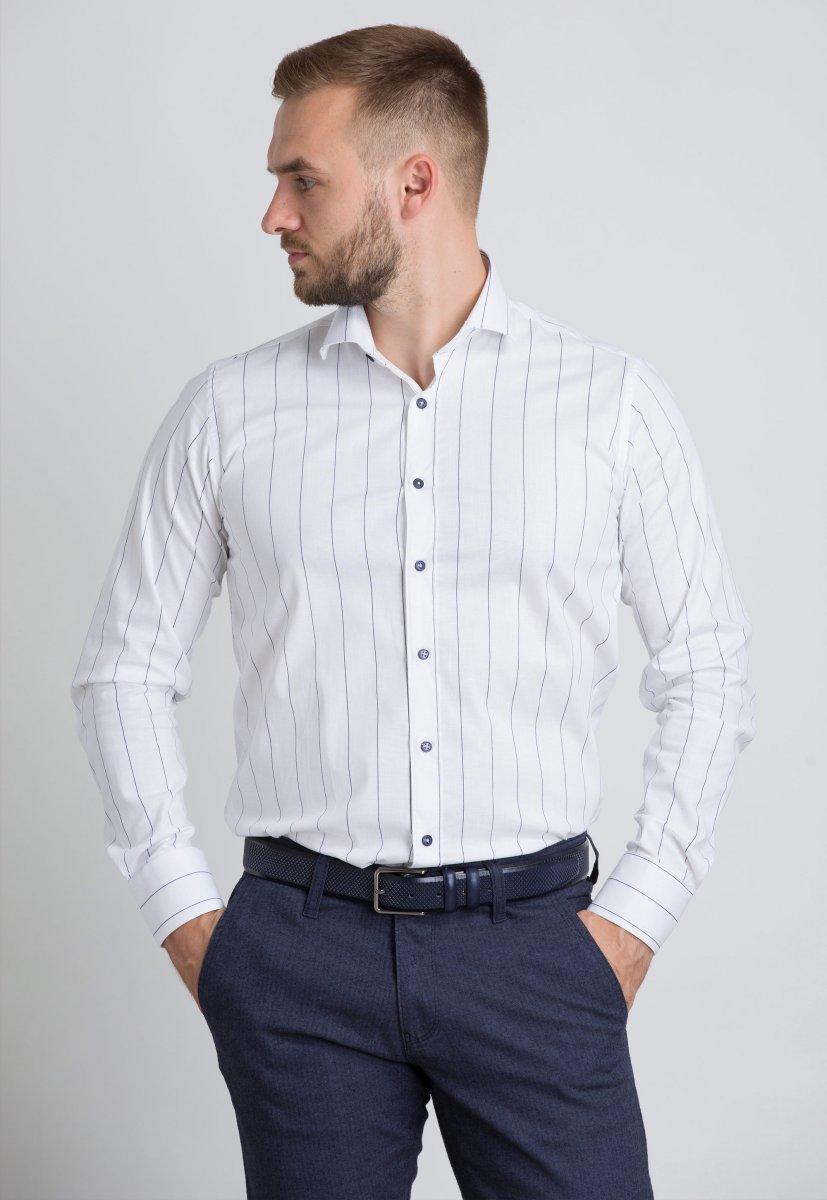 Рубашка Trend Collection U02-1090-20 Белый+черная полоска - Фото 1