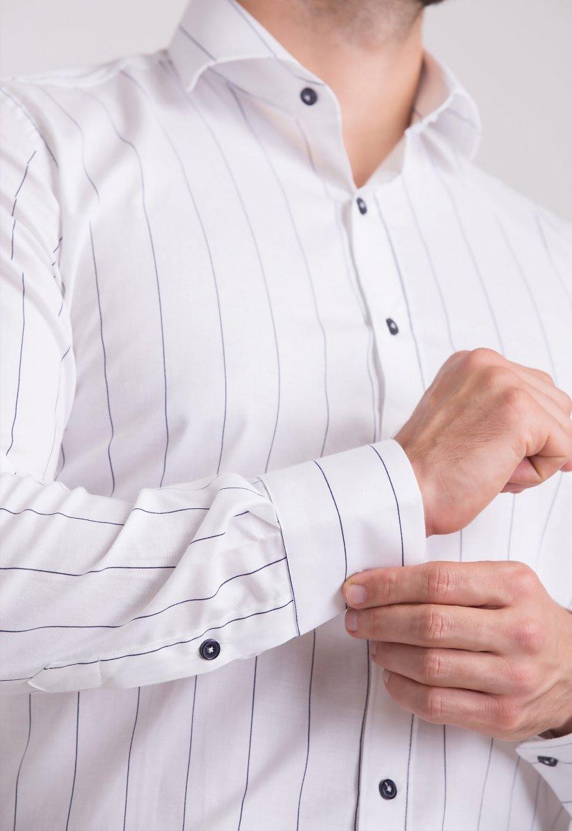 Рубашка Trend Collection U02-1090-20 Белый+черная полоска - Фото 2