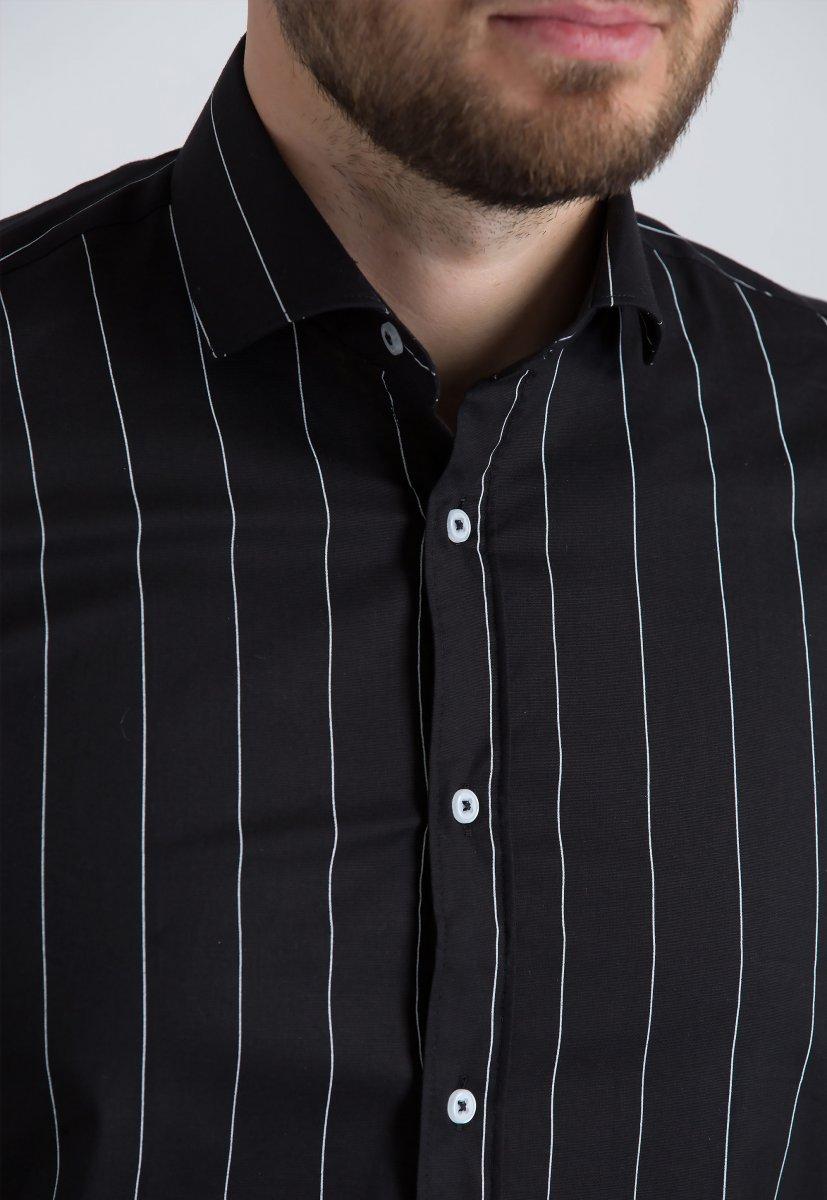 Рубашка Trend Collection U02-1090-20 Черный+белая полоска - Фото 2