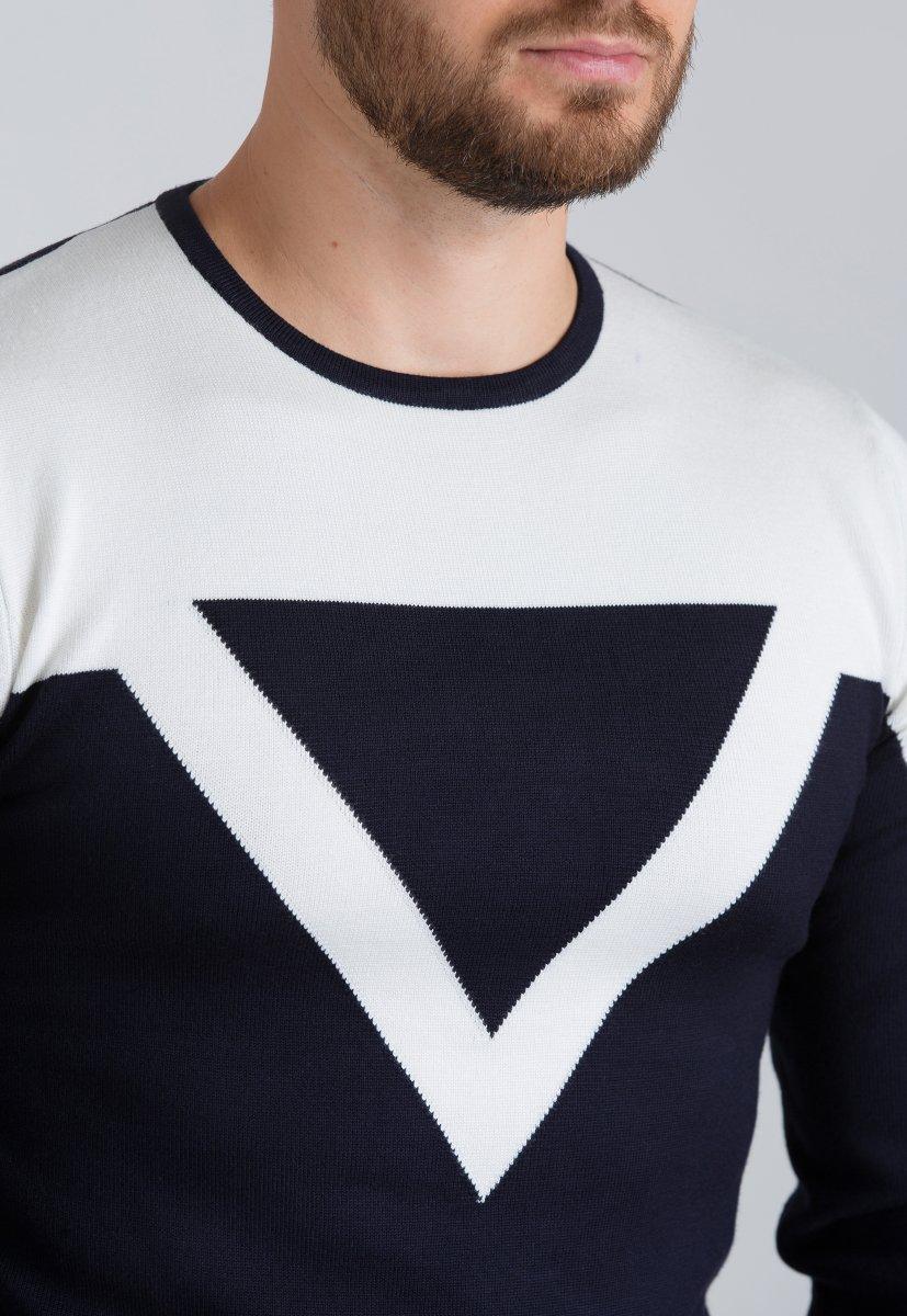 Свитер Trend Collection 7028 Темно-синий+белый - Фото