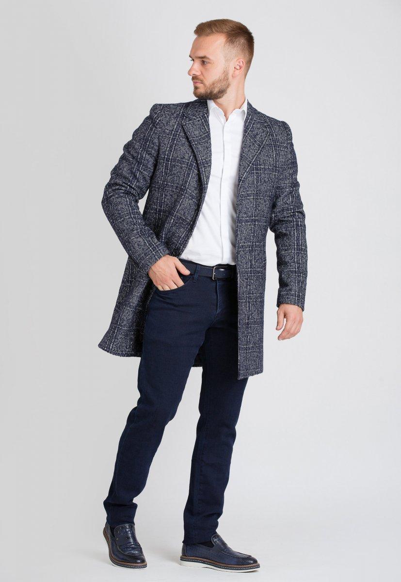 Пальто Trend Collection 553 Синий + белый - Фото