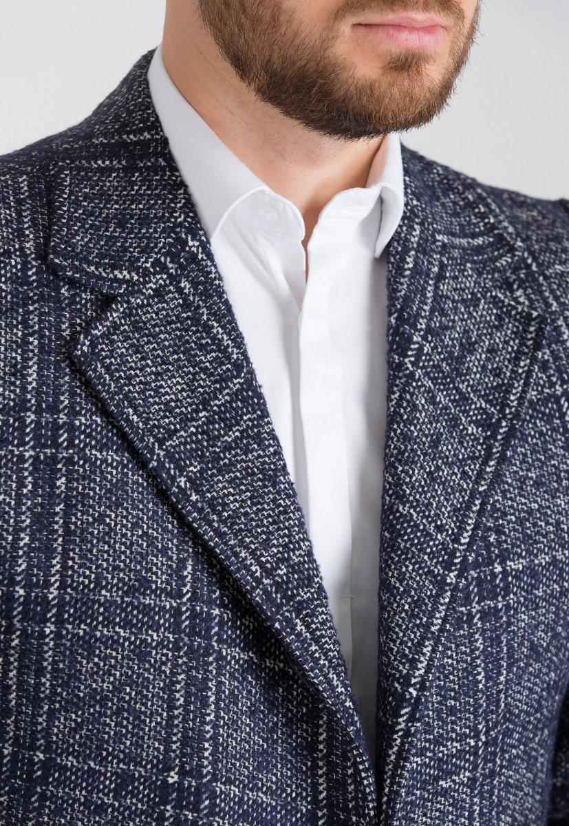 Пальто Trend Collection 553 Синий + белый - Фото 2
