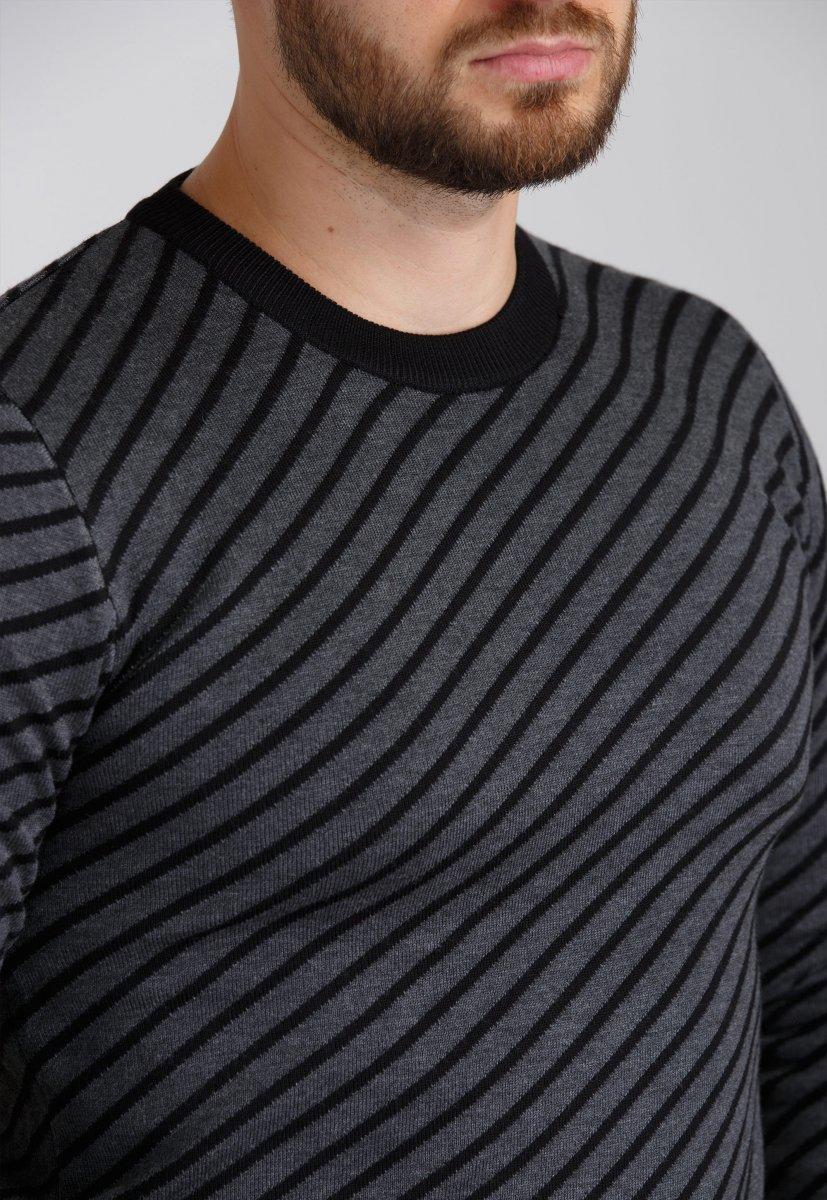 Свитер Trend Collection 19003 Темно-серый+черная полоска - Фото