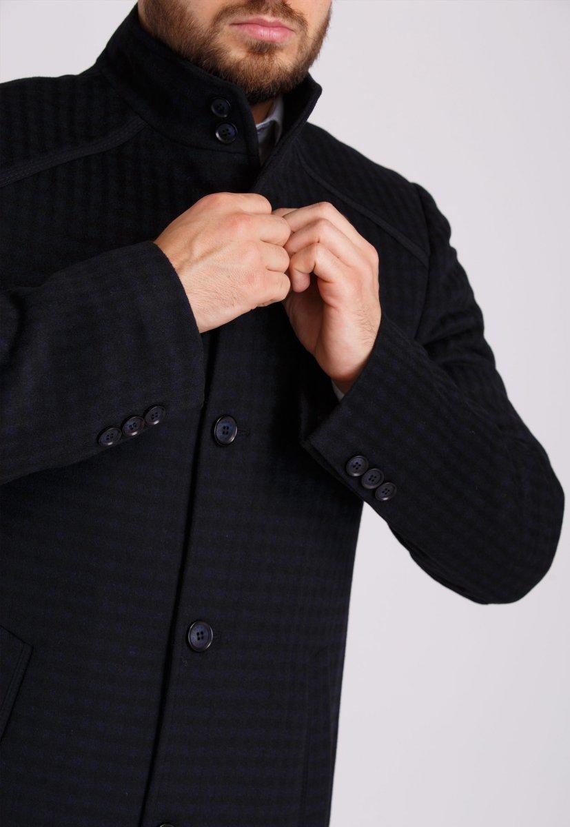 Пальто Trend Collection 515 Черный+синяя клетка - Фото