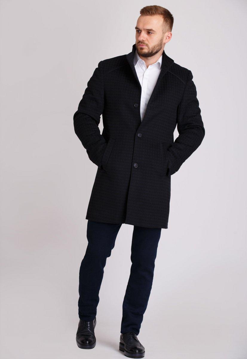 Пальто Trend Collection 515 Черный+синяя клетка - Фото 1