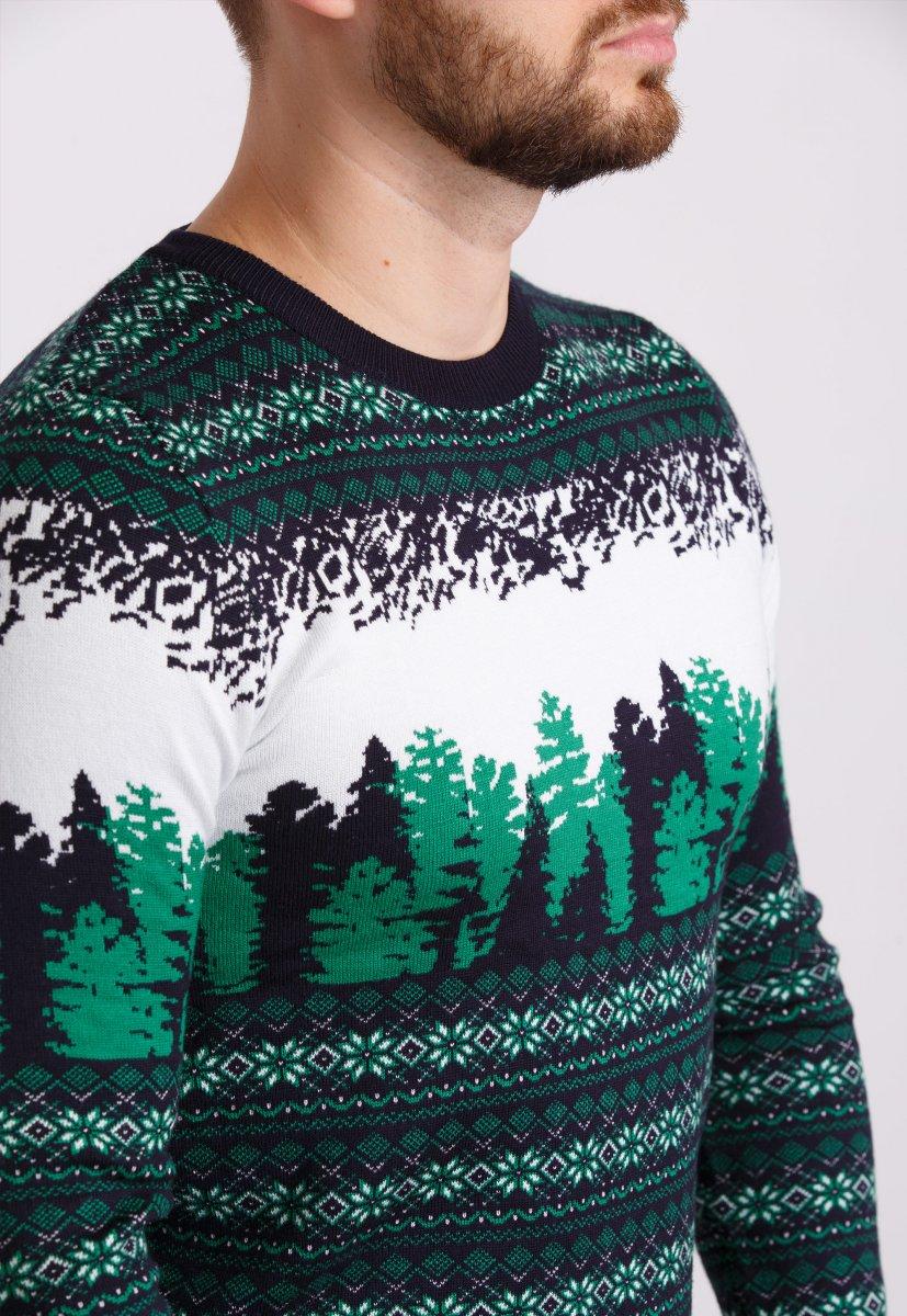 Свитер новогодний Trend Collection 050 Белый+зеленые елки - Фото