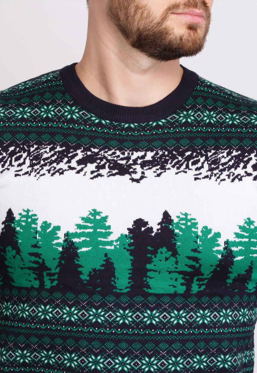 Свитер новогодний Trend Collection 050 Белый+зеленые елки - Фото 1