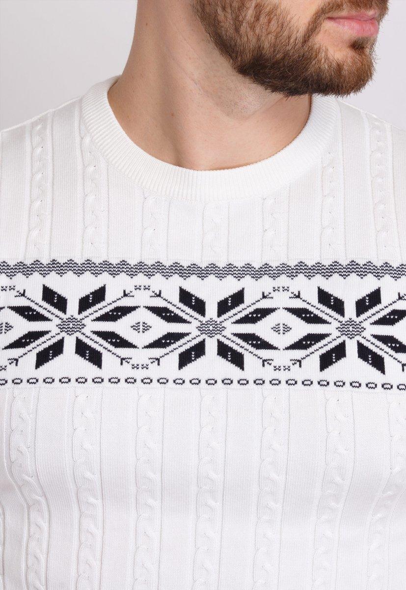 Свитер новогодний Trend Collection 6964 Белый+орнамент - Фото