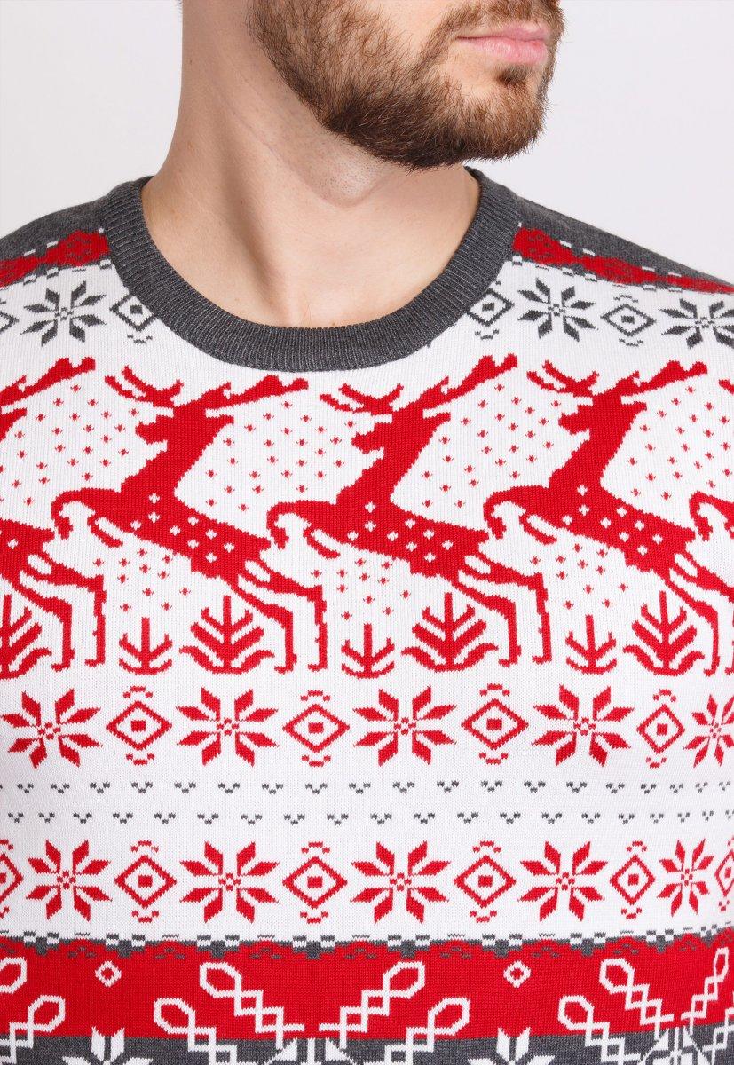 Свитер новогодний Trend Collection 90013 Белый + красные олени - Фото 1