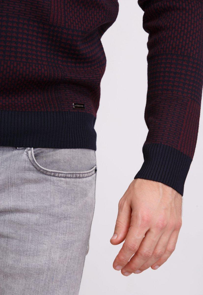 Свитер Trend Collection 1606 Темно-синий+бордовый - Фото