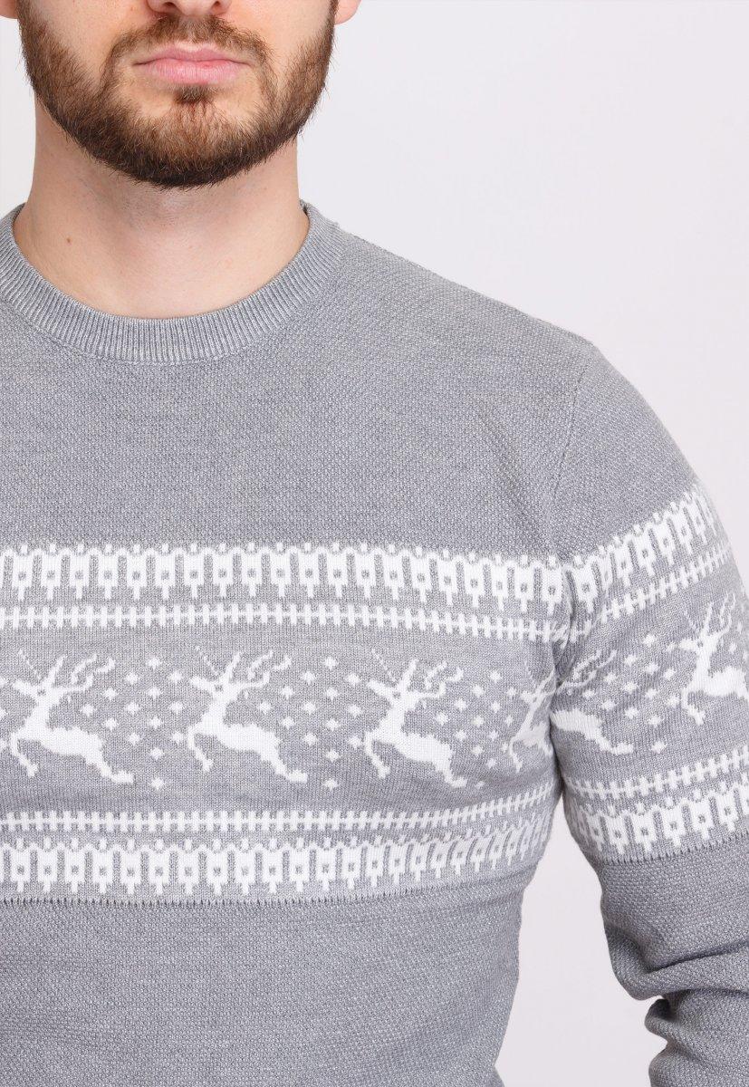 Свитер Trend Collection 9533 Серый+белые олени - Фото