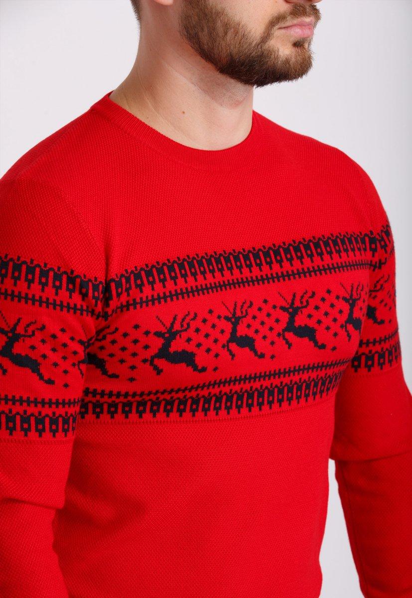 Свитер Trend Collection 9533 Красный+черные олени - Фото